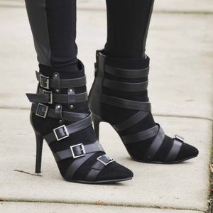 "Buckle Black Boots 3"" Heels Size 10"